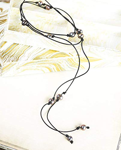 Leather Black Pearl Lariat wrap Long necklace - 60 inches - 3rd anniversary gift for her