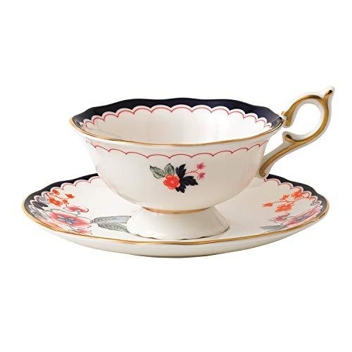 (Wedgwood 40024022 Wonderlust Teacup & Saucer Set Jasmine Bloom, 2 Piece, Crimson Orient)