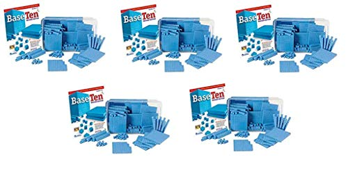 hand2mind Blue Plastic Base Ten Blocks, 161-Piece Starter Set (Fivе Расk) ()