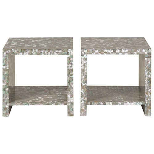 Orson Coastal Beach Abalone Shell Bunching Coffee Table - Pair (Square Bunching Cocktail Table)