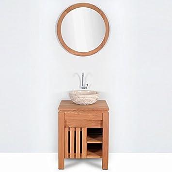 Meuble salle de bain MALACCA en teck largeur 60 cm Amazon