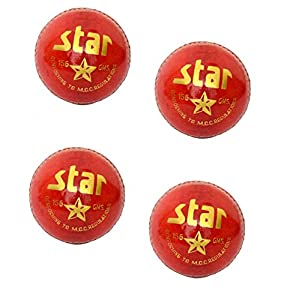 CW Star Seasoned Cricket Ball Standard Size All Red Leather Cricket Ball 4 Piece Balls Set of 4