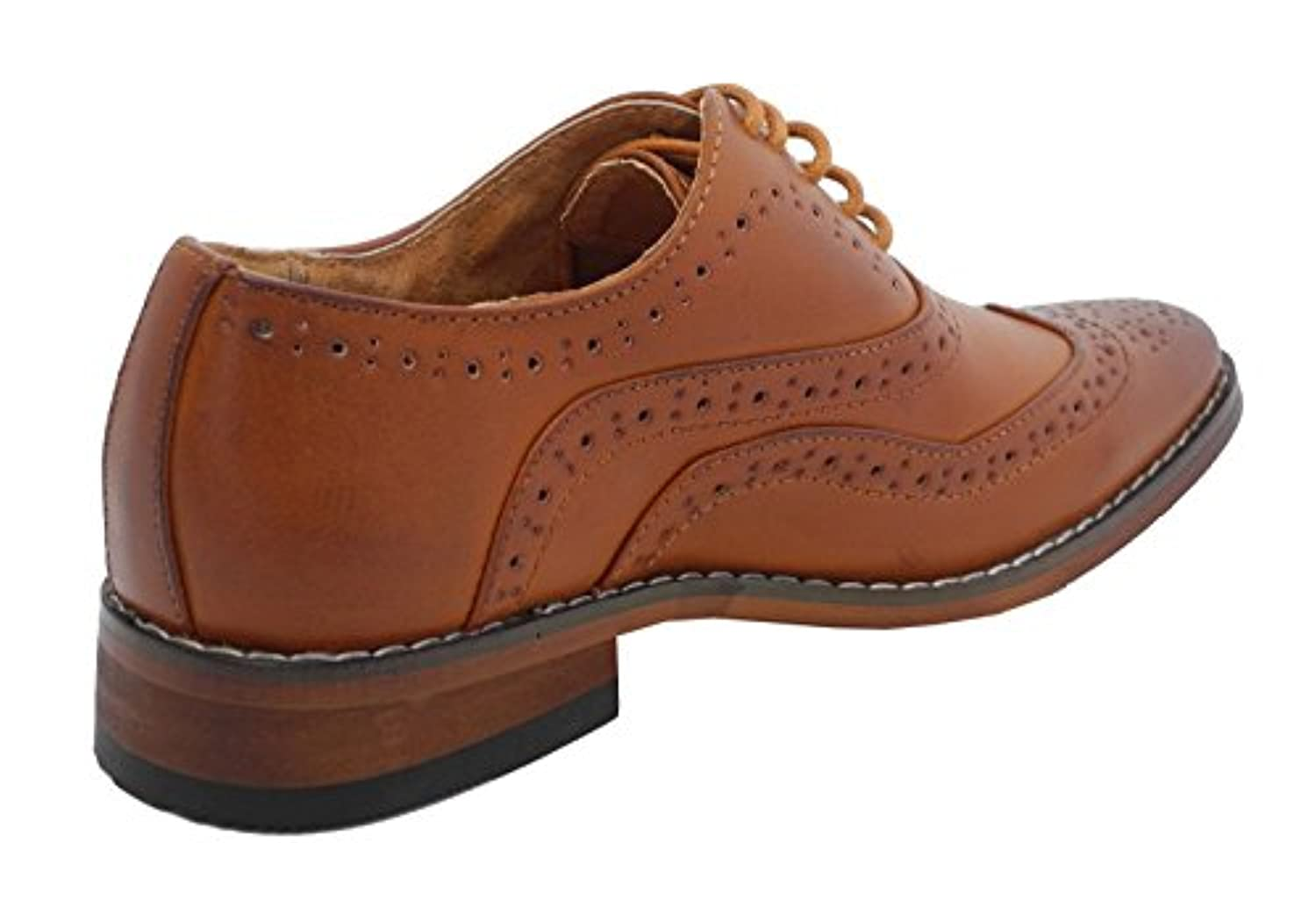 Boys Tan Brown Leather Lined Lace Up Smart Brogues Shoes Size 1