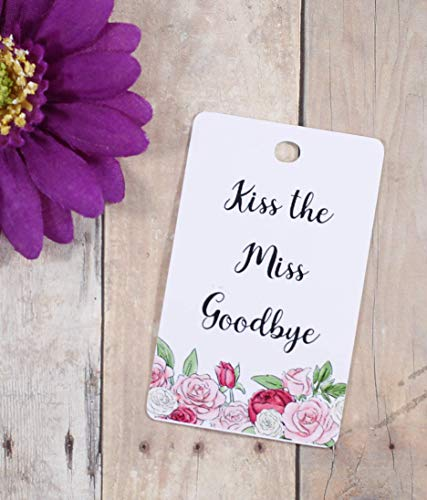 Bridal Shower Favor Tags - Kiss the Miss Goodbye (Set of 40) -