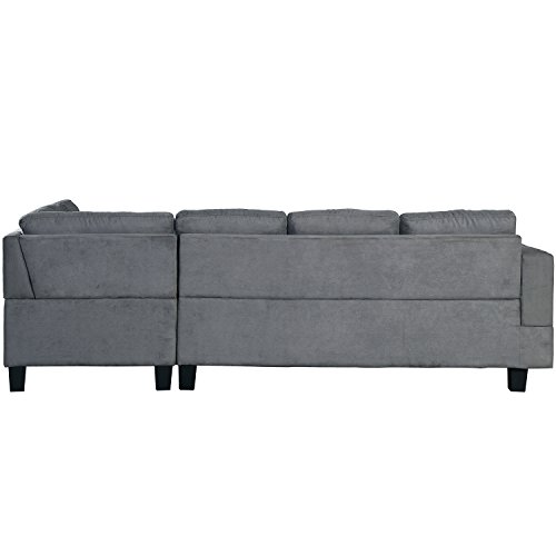 Merax Sofa 3-piece Sectional Sofa with Chaise Lounge/Storage Ottoman/7 Back Cushions/2 Throw Pillows, Gray