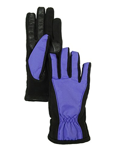 Isotoner Smart Touch Gloves (XS/SM, Purple/Black) (Isotoner Womens Suede Gloves With Gathered Wrist)