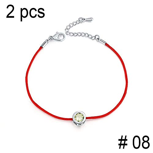 Henraly 2 Pcs/Lot Charm Bracelets for Women Red Rope 6Mm Cubic Zirconia Tennis Bracelet Bangle Jewelry,8 from Henraly