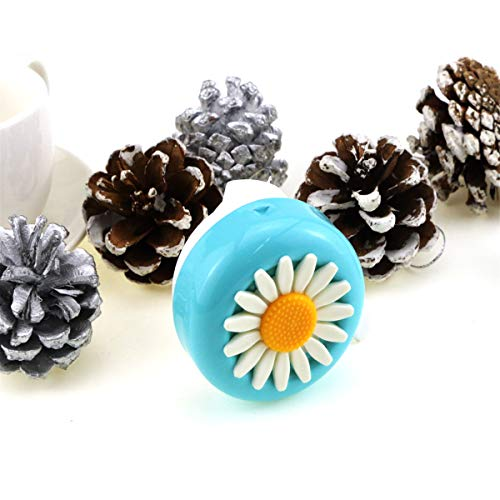 Oruuum Bicycle Bells, Children's Bicycle Bells, Bicycle Accessories, Bell with Plastic Flowers, Retro Bicycle Bells, and The Voice is Clear and Loud. (Blue-White)
