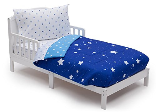 | Boys 4 Piece Collection | Fitted Sheet, Flat Top Sheet w/ Elastic bottom, Fitted Comforter w/ Elastic bottom, Pillowcase | Delta Children | Boys Starry Night | Blue Stars ()