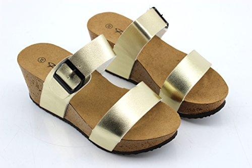 Modelisa - Sandalias Plataforma Mujer Gold