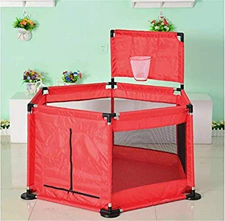 Waterproof Baby Playpen Fence with Basketball Hoop and Mat Zippered Safety Play Area Gate Baby Safe Play Yard