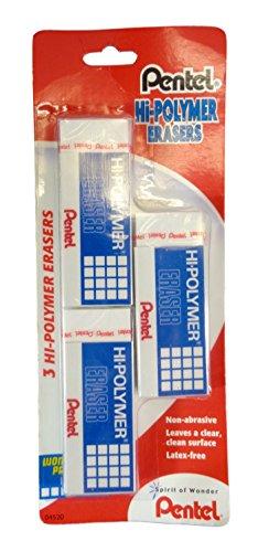 Bulk Buy: Pentel Hi-Polymer Erasers, (3)/Pkg, Pack of (6) - Total (18) Erasers by Pentel (Image #1)