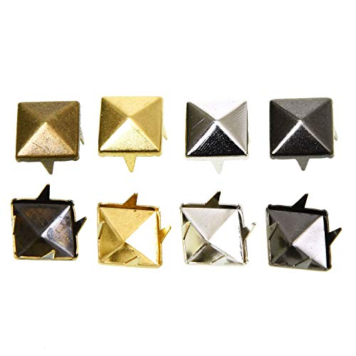 Monrocco 120pcs 3/8 Inch Gold DIY Nailhead Square Pyramid Studs for Leathercraft Clothes Belt Bag Shoes Jewelry Decorations
