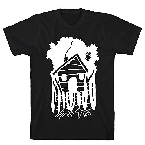 LookHUMAN Yaga's House On Hen's Legs Medium Black Men's Cotton Tee