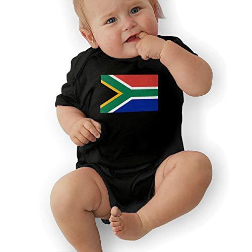 U88oi-8 Short Sleeve Cotton Bodysuit for Unisex Baby, Fashion South Africa Flag Jumpsuit Black]()