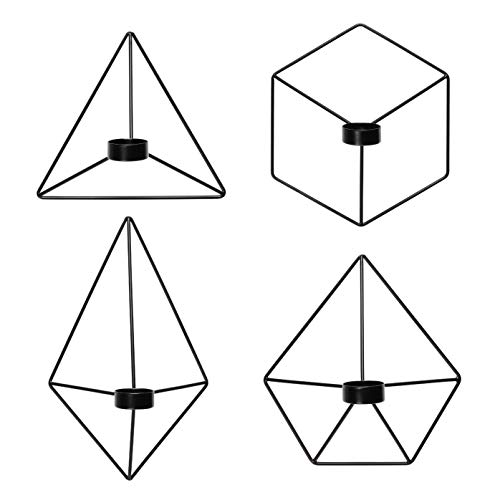 Kimisty Set of 4 Geometric Hanging Tea Light Candle Holder | Black Wall Decor Air Plant Holder | 3D Modern Nordic Decoration | Wire Metal Diamond Wall Art -