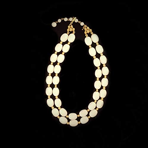Trifari White Faceted and Shiny Gold Bead Double Strand Choker or Necklace