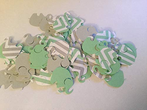 100 Elephant Baby Shower Mint Green Chevron Elephant Mint Gray Elephant Confetti Elephant Cut Out Elephant Theme Baby Shower Mint Elephant Gender Neutral Baby Shower ()