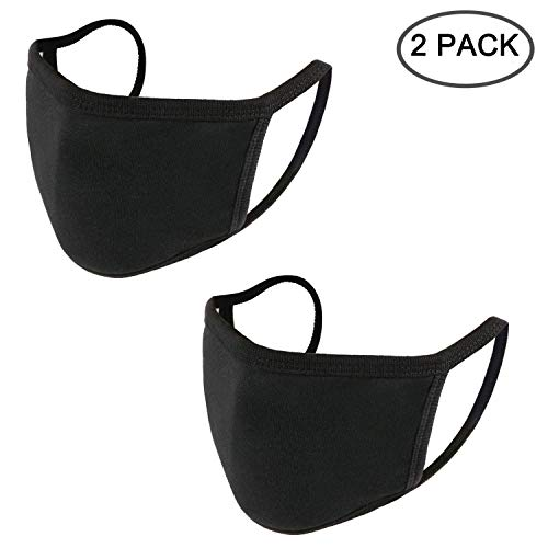 UNIME Anti-Dust Mouth Mask Cotton Mouth Mask,Unisex Black Face Mask Reusable Fashion Mask Anime Face Mask Washable Mask Reusable Mask for Cycling Camping Travel for Men Women,Pack of 2