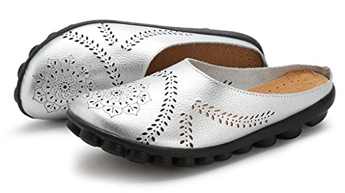 Flats 01 Slip Women's Shoes Slipper Silver Labato on Leather Clogs Mules Wallking A0xcUTwg