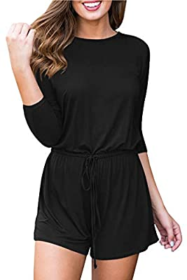 For G and PL Women's 3/4 Sleeve Casual Shorts Jumpsuit Romper