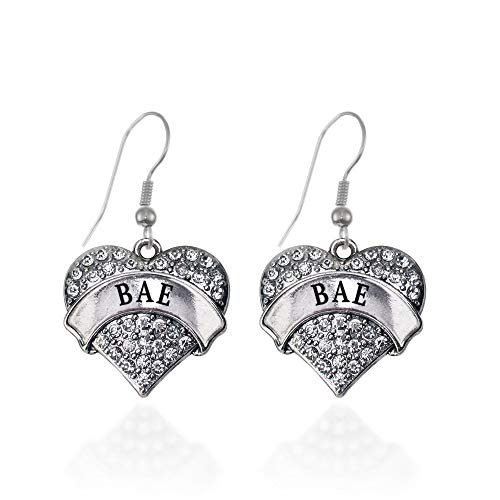 Inspired Silver - Bae Charm Earrings for Women - Silver Pave Heart Charm French Hook Drop Earrings with Cubic Zirconia Jewelry