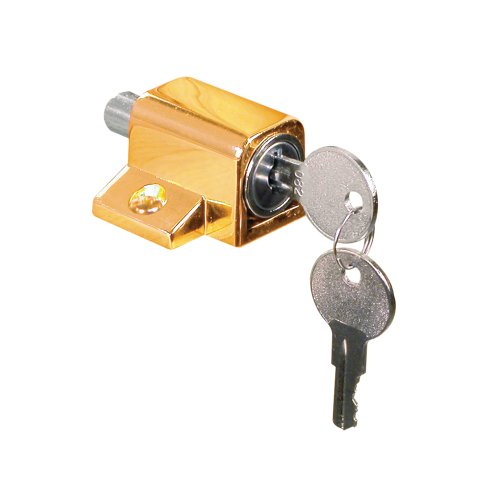 Defender Security U 9863 Heavy Duty Wood Window Keyed Sash Lock, Brass Plated