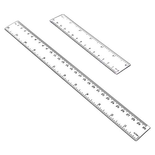 (Allinone Plastic Ruler Flexible Ruler with inches and metric Measuring Tool 12