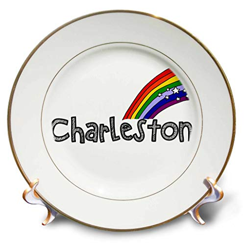 3dRose All Smiles Art - Travel - Cool Fun Charleston and Rainbow Charleston Lovers Art - 8 inch Porcelain Plate (cp_304434_1)