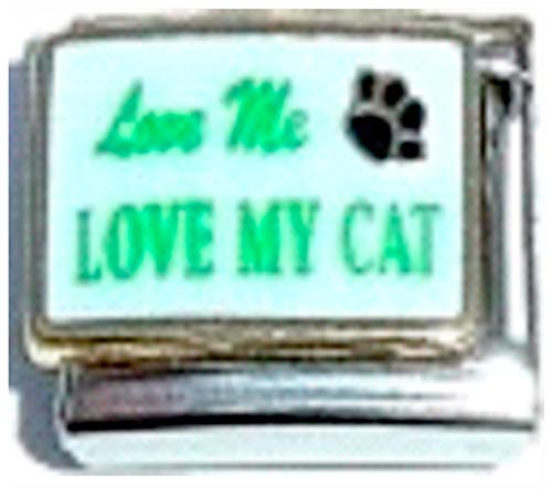 Stylysh Charms Love ME Love My CAT PET PAW Enamel Italian 9mm Link CA133 ()