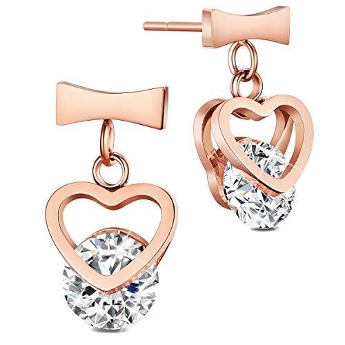 - SHEGRACE Wedding Earrings for Bridesmaids, Rose Gold/Gold Plated Hook Earrings, Oval Dangle Earring Drop Earrings (heart-rose gold)