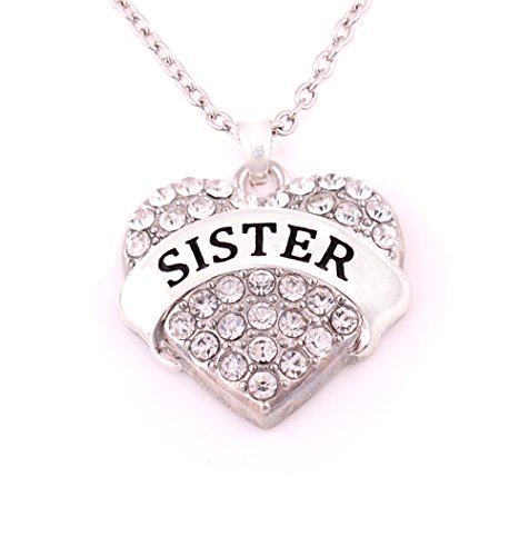 Charm.L Grace Matching Necklaces White Crystal Heart Sis Sister Necklace