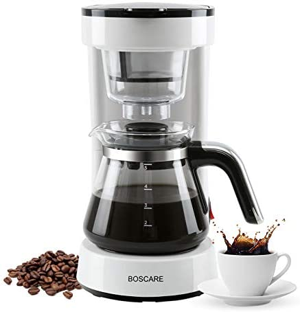 BOSCARE 5-Cup Coffee Maker with Reusable Filter,Small Drip Coffeemaker Compact Coffee Pot Brewer Machine,White,CM1172