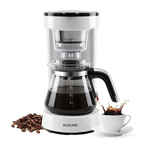 BOSCARE Coffee Maker with Reusable Filter,Small Drip Coffeemaker Compact Coffee Pot Brewer Machine (5 Cup)