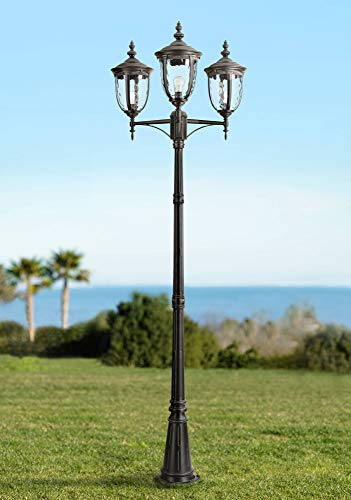 - Bellagio Traditional Outdoor Post Light European Street Lantern 3 Light Texturized Black 96