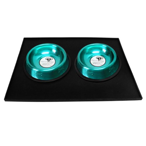 Platinum Pets Heavy-Duty Silicone Feeding Cat Mat with 2 6-Ounce Embossed Cat Bowls, Teal 70%OFF