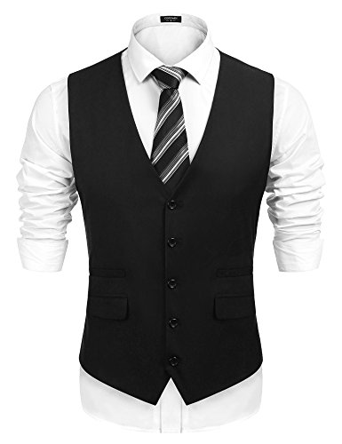 (COOFANDY Men's Business Suit Vest,Slim Fit Formal Skinny Wedding Waistcoat,Black,Small )
