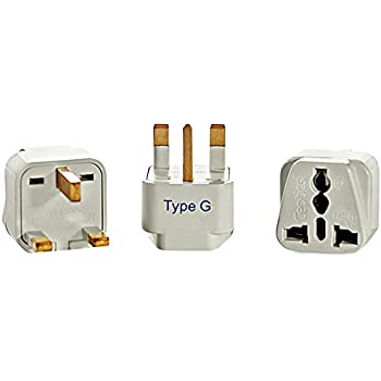 Ceptics UK, Hong Kong Travel Plug Adapter (Type G) - 3 Pack [Grounded & Universal]