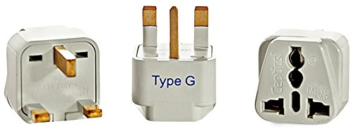 Ceptics GP-7-3PK UK, Hong Kong Travel Plug Adapter (Type G) - 3 Pack [Grounded & Universal] (Kenya New Metal)