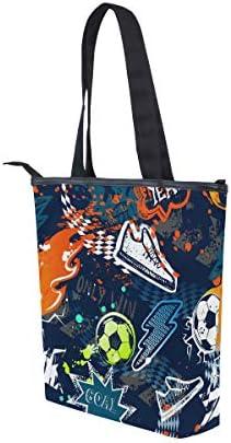 BKEOY Grand sac à main à bandoulière abstrait Creative Sport Football Sac cabas avec fermeture éclair