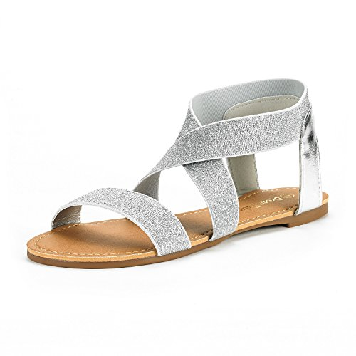 DREAM PAIRS Women's ELATICA-6 Silver PU Elastic Ankle Strap Flat Sandals - 8 M - Womens Silver Sandals
