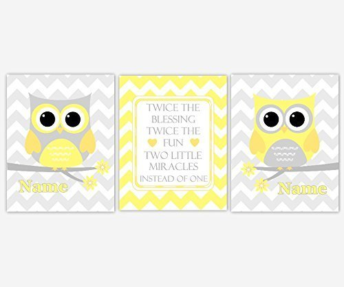 Amazon.com: Twins Baby Nursery Wall Art Yellow Gray Owls Chevron ...