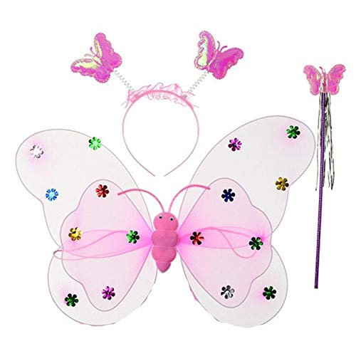2 Set Kids Baby Girls Bling Princess Angel Fairy Costume Butterfly Wings Wand