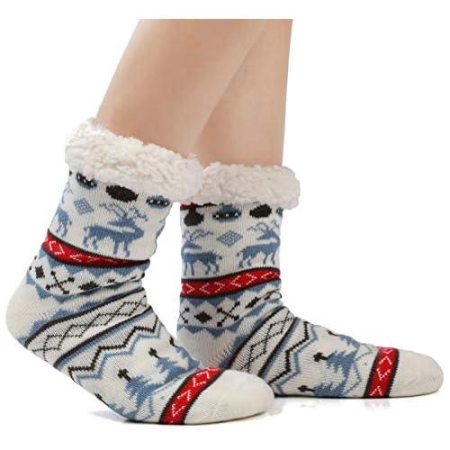 chollos oferta descuentos barato JARSEEN Mujer Hombre Navidad Calcetines Invierno Calentar Pantuflas de Estar Por Casa Super Suaves Cómodos Calcetines Antideslizante Ciervo Azul EU 36 42