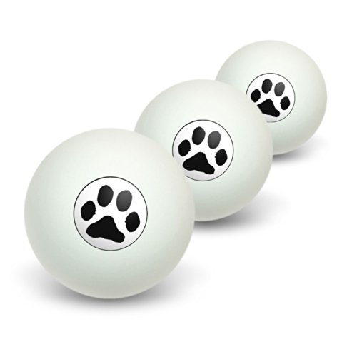 Graphics and More Paw Print - Pet Dog Cat Novelty Table Tennis Ping Pong Ball 3 (Paw Print Tennis Balls)