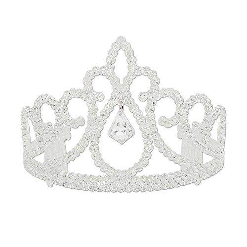 Bristol Novelty BA727 Glitter Tiara with Diamond, White, One Size