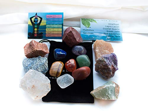 - Ezina Designs Seven Chakra Crystals with 7 Polished Gemstones 14 Piece Set for Meditation and Protection Rocks of Power from Meditation Collection