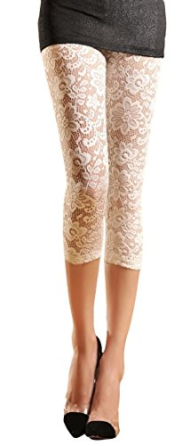 Womens Stretchy Floral Lace Capri Leggings Tights (US: 6/8, -