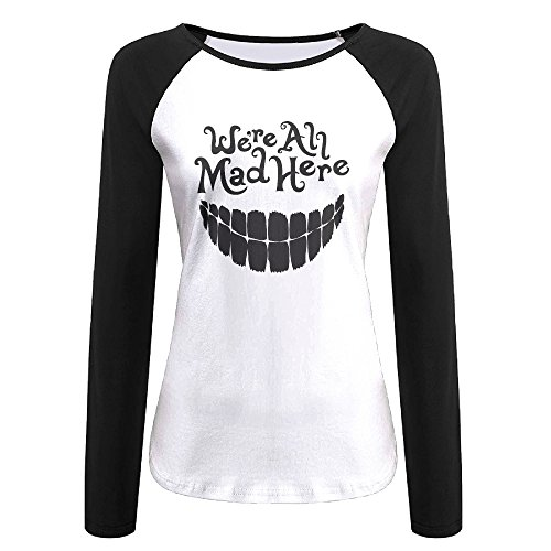 Creamfly Womens Evil Teeth We're All Mad Here Long Sleeve Raglan Baseball Tshirt (Angelina Jolie Alexander Costumes)