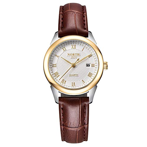 NORTH Womens Quartz Leather Watch Gold Casual Watch Waterproof Analog Gift Watch Classic Roman Digital Watch with Brown Strap Two-Tone Watch (Strap Digital Watch Brown)
